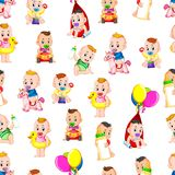 Seamless pattern with babys happy playing vector illustration