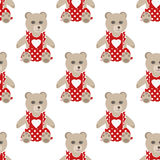 Illustration of seamless pattern with colorful bears teddy backg Royalty Free Stock Images