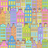 Colorful sity. Illustration of seamless pattern with colorful buildings Stock Images
