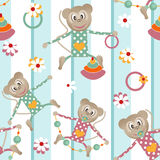 Illustration of seamless pattern with colorful toys monkey backg Royalty Free Stock Image
