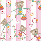 Illustration of seamless pattern with colorful toys monkey backg Royalty Free Stock Photography