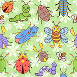 Seamless pattern with cute colorful insects stock illustration