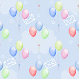 Illustration seamless pattern envelopes colorful balloons Royalty Free Stock Image