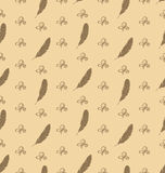 Illustration Seamless Pattern of Feathers with Ornament Elements. Retro Texture - Vector Stock Photography