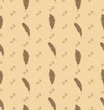 Illustration Seamless Pattern of Feathers with Ornate Elements Stock Photos