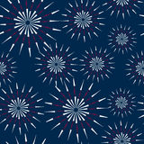 Illustration Seamless Pattern firework for Independence Day of USA Stock Photos