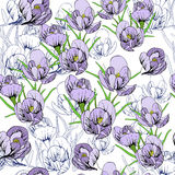 Illustration of seamless pattern First Snowdrops Galanthus Flowers. Spring background, wallpaper and printable Stock Photos