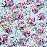 Illustration of seamless pattern First Snowdrops Galanthus Flowers. Spring background, wallpaper and printable Royalty Free Stock Photo