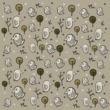 Illustration of seamless pattern with funny birds and green tree Royalty Free Stock Images