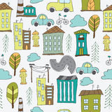 Illustration of seamless pattern with houses Royalty Free Stock Image