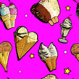 Illustration of Seamless pattern ice creame tasty. Hand drawn, doodle decorative sticks. Paper background for children. Vector illustration of Seamless pattern Royalty Free Stock Photography