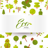 Illustration seamless pattern with lettering, green trees and bushes on a white background in  flat style. Stock vector illustration seamless pattern with Royalty Free Stock Images