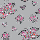 Illustration seamless pattern ornamental butterfly. Vector illustration seamless pattern ornamental butterfly with fantastic flower on grey background Royalty Free Stock Photos
