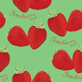 Illustration of seamless pattern strawberry. Vector Illustration of seamless pattern strawberry on green background Royalty Free Stock Images
