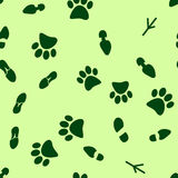 illustration of a seamless pattern of traces of people, birds and wild animals, flat style Stock Photos