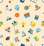 Illustration Seamless Texture with Icons of Education Item Royalty Free Stock Images