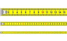 Illustration of a seamless yellow classic tape measure tool with meters and centimeters for mason and construction equipment Royalty Free Stock Images