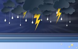 Illustration of seascape view with black cloud and yellow lighting on blue sky.Rainy season in sea with storm lightning,3D paper. Art and craft style. vector vector illustration