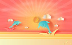 Illustration of seascape view with jumping dolphin and clouds at vector illustration