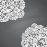 Illustration with seashells patterns in sketch style on chalkboard Royalty Free Stock Image