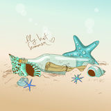 Illustration of seashells, starfish and bottle with a message Royalty Free Stock Photo
