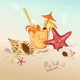 Illustration with seashells, starfish and cocktail Stock Photography