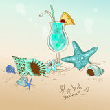 Illustration with seashells, starfish and cocktail Stock Image