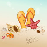 Illustration with seashells, starfish and flip flops Royalty Free Stock Photo
