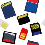 Illustration of Selection of Memory and SIM Cards Stock Photography