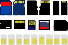Illustration of Selection of Memory and SIM Cards Royalty Free Stock Images