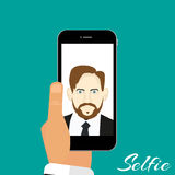 Illustration Selfie phone in hand green background Stock Image