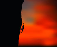 Illustration of senior climber man silhouette Royalty Free Stock Image