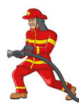 Illustration of a senior firefighter royalty free illustration