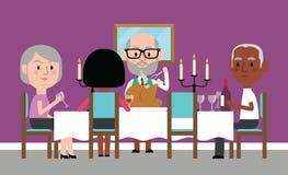 Illustration Of Senior Friends Having Dinner Party At Home stock illustration