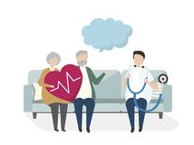 Illustration of seniors with a doctor. For a check up Royalty Free Stock Photo