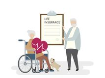 Illustration of seniors with life insurance Royalty Free Stock Photos