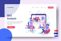Illustration SEO Analysis. Landing page SEO Analysis, the concept of a man entering code on a board and a man sitting with his laptop, web, ui, banners royalty free illustration