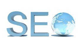 Illustration of seo text with earth globe Stock Images