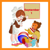 Illustration September 1st in frame, girl schoolgirl first cla. Ss, cartoon on white background.vector royalty free illustration