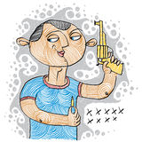 Illustration of a serial killer holding a gun and ammunition for Royalty Free Stock Images