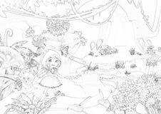 Illustration: Serie för färgläggningbok: Gå till och med bergen Mjuk tunn linje Skriv det ut och komma med det till liv med färg! Royaltyfri Fotografi