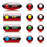 Illustration set of abstract shiny buttons for web. And computers application. Colorful collection isolated on white background Royalty Free Stock Photos