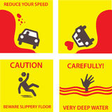 Illustration set alarm. Set illustration of danger signs such as accident, deep water, and slippery floors Stock Photos