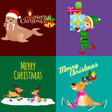 Illustration set animals winter holiday North Pole boy elf with presents and deer skating and sitting with lights,walrus Royalty Free Stock Photo