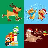 Illustration set animals winter holiday North Pole penguins with presents and bears under snow, deer skating, walrus in Royalty Free Stock Photo