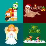 Illustration set animals winter holiday North Pole penguins presents and, deer skating, walrus in hat with bells, vector Stock Image