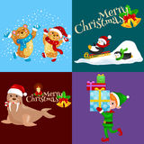 Illustration set animals winter holiday North Pole penguins presents and sledding Stock Images