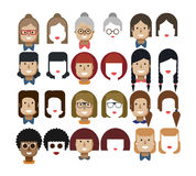 Illustration set avatars female faces, design elements, hairstyles, glasses. Stock vector illustration set avatars female faces, design elements, hairstyles Stock Photography