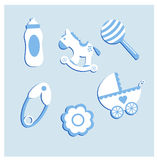 Illustration set of baby items. Blue Stock Image