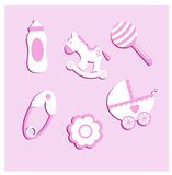 Illustration set of baby items. Pink Stock Photos
